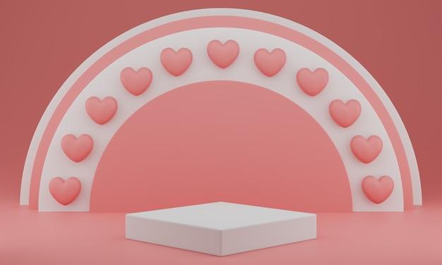Valentijnsdag: podium of productstandaard met hartensymbool van liefde op pastelroze achtergrond met kopie ruimte. 3d-weergave.