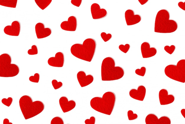 Valentijnsdag . rode harten op witte achtergrond