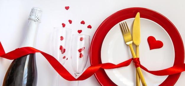 Valentijnsdag romantisch diner felicitatie.