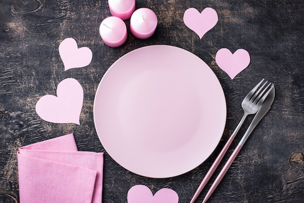 Valentijnsdag roze tabel instelling