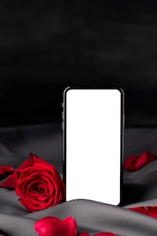 Valentijnsdag rozen met smartphone