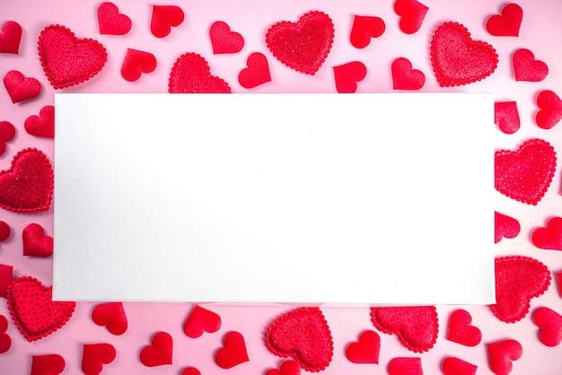 Valentijnsdag wenskaart frame met hartjes