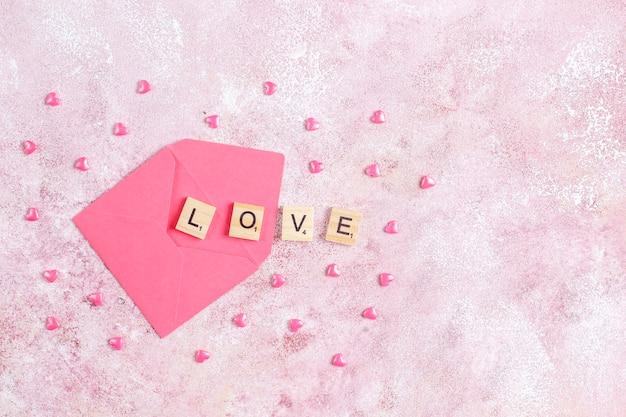 Valentijnsdag wenskaart met roze bloemen.