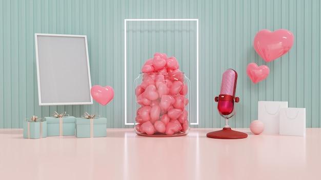 Valentijnsdagvitrine versieren met love, shopping bad, geschenkdoos en fotolijst. concept voor valentijnsdag en bruiloft achtergrond. 3d-weergave.