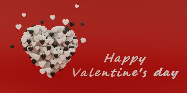 Valentine concept achtergrond. hart gemaakt van kleine harten op rode achtergrond, 3d-rendering