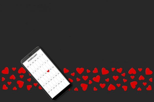 Valentine-dagconcept, op donkere achtergrond isoleerde rode document harten en telefoon met kalender op het scherm