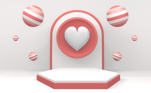 Valentine het roze podium toont minimaal ontwerp op roze en rode achtergrond. 3d-weergave