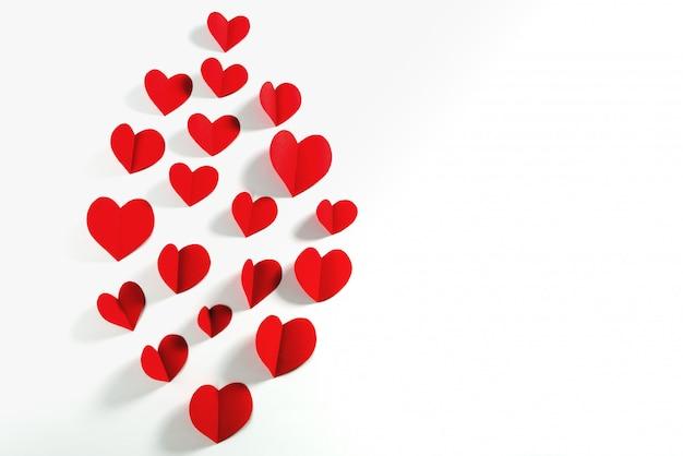 Valentine-kaart met rood hart op witte achtergrond, abstract, plat lag, bovenaanzicht