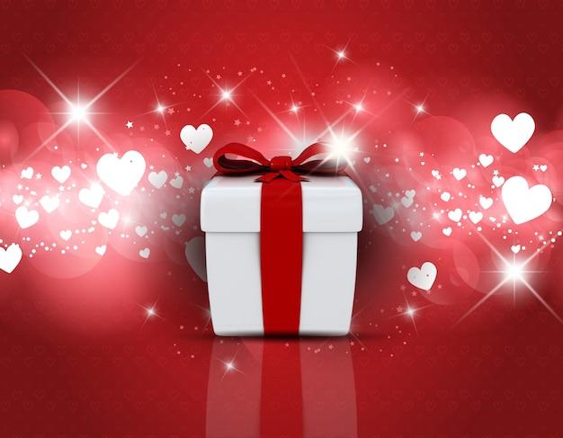 Valentines day achtergrond met geschenkdoos op harten ontwerp