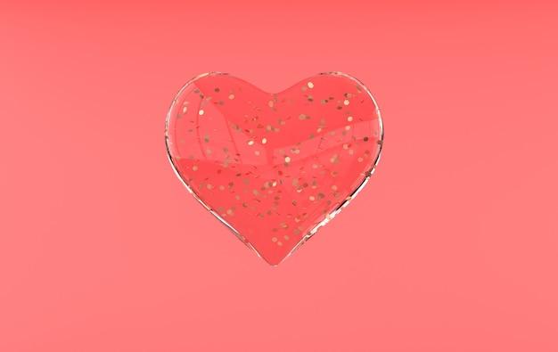 Valentines harten, gouden confetti achtergrond patroon 3d rendering illustratie
