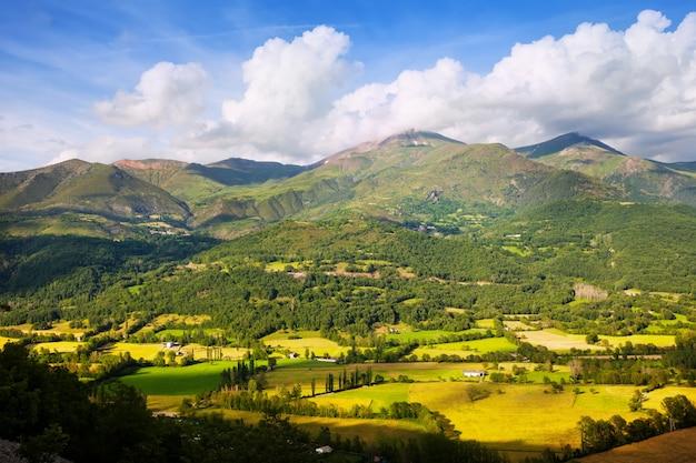 Vallei bij bergen in de zomerdag. huesca