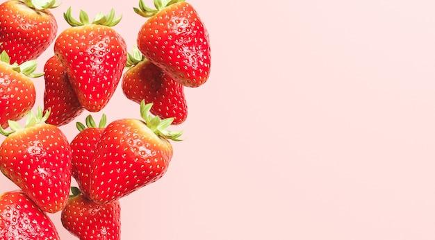 Vallende aardbeien met rood oppervlak