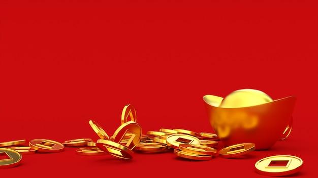 Vallende chinese gelukkige gouden 3d-munten op de baar in