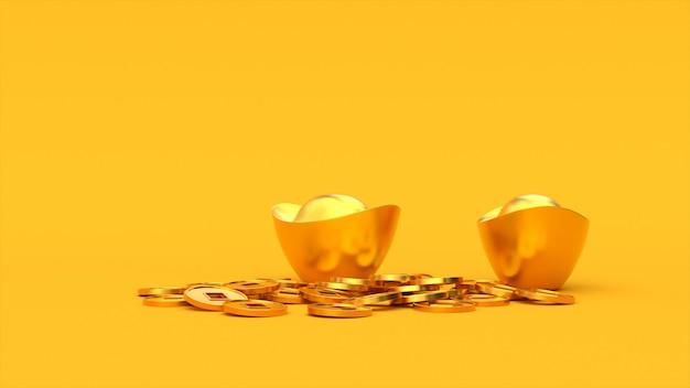 Vallende chinese gelukkige gouden 3d-munten op de ingots.