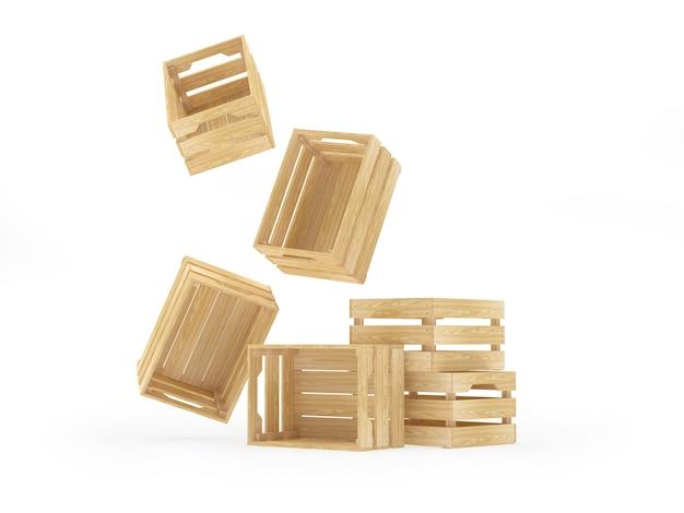 Vallende en staande houten kisten