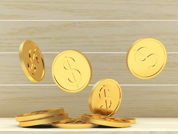 Vallende gouden dollarmuntstukken op hout