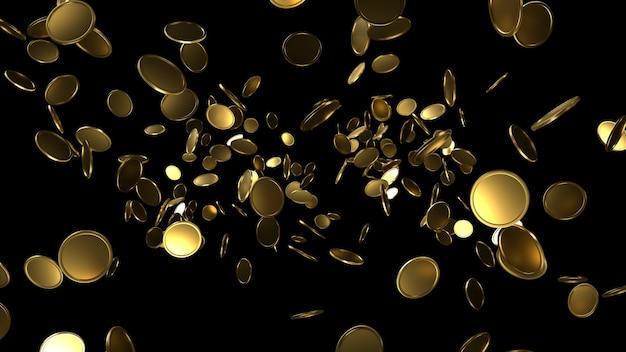 Vallende gouden munten 3d render