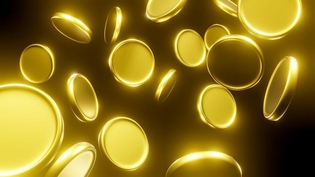 Vallende gouden munten. 3d renderen.