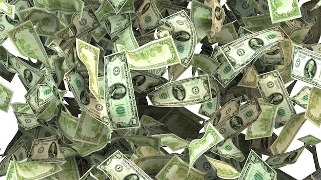 Vallende hopen geld met witte achtergrond