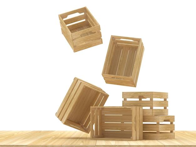 Vallende lege houten kisten