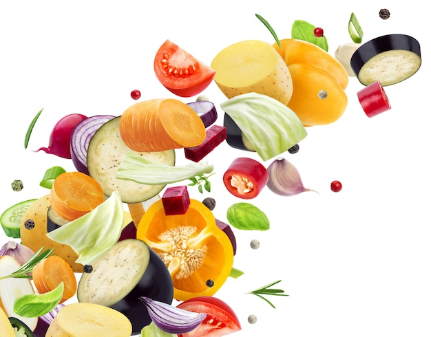 Vallende mix van verschillende groenten