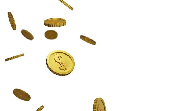 Vallende munten, vallend geld, vliegende gouden munten, regent gouden munten. 3d-weergave.