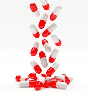 Vallende rode medische capsules