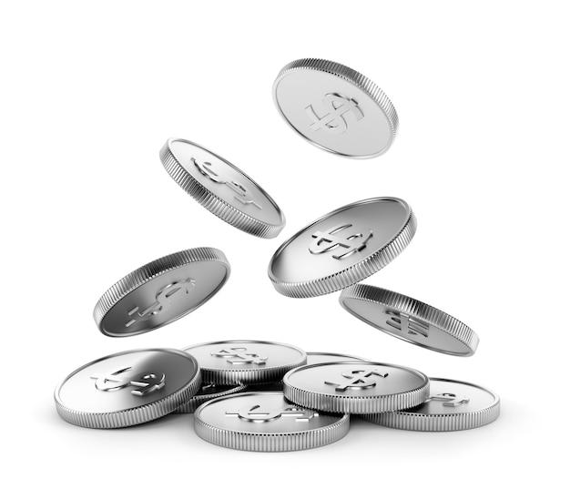 Vallende zilveren munten