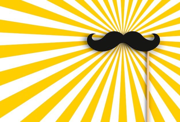 Valse zwarte snor op geel en wit