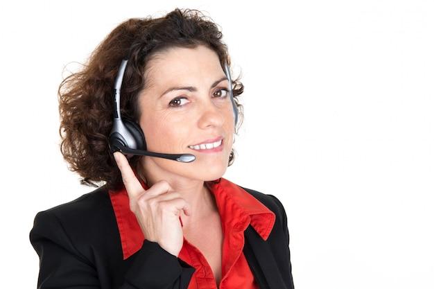 Van de bedrijfs call centreexploitant vrouw die op wit wordt geïsoleerd
