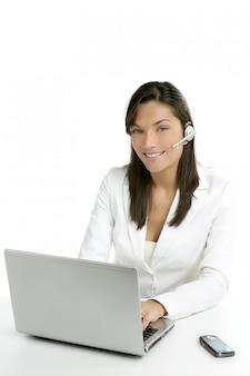 Van de bedrijfs hoofdtelefoontelefoon vrouwenkleding in wit