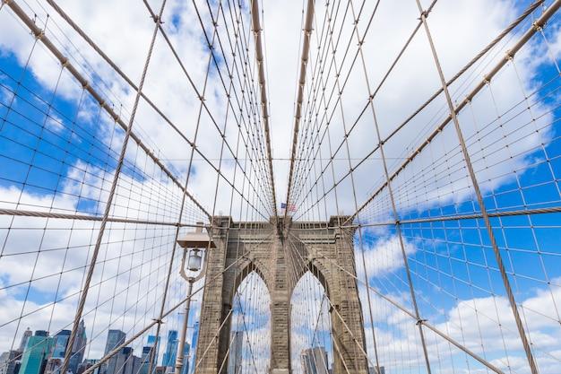Van de brugmanhattan van brooklyn cityscape van de binnenstad new york de vs