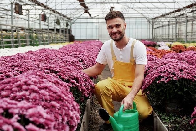 Van de natuur houden. foto van mooie jonge kerel in de serre die roze gekleurde bloemen behandelt.