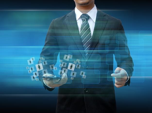 Van de smartphonewereld van de zakenmanholding de technologie sociale media