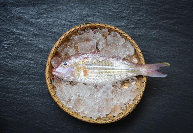 Van de vissenplaat van zeevruchten de oceaan gastronomische verse ruwe vissen op ijsmand