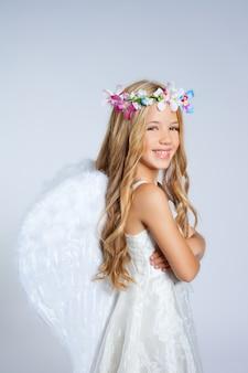 Van het het meisjeportret van engelenkinderen de manier witte vleugels