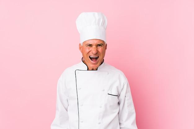 Van middelbare leeftijd kok man geïsoleerd schreeuwen erg boos en agressief.
