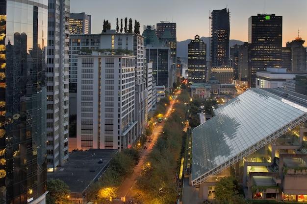 Vancouver bc cityscape bij zonsopgang