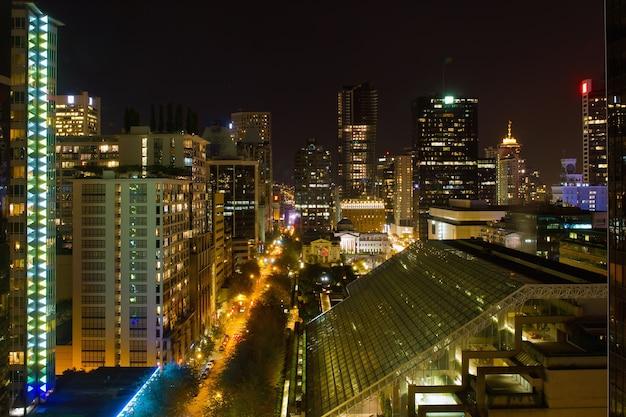 Vancouver bc cityscape nachtscène
