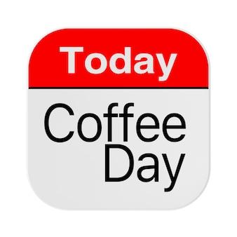 Vandaag is het koffiedagpictogram op een witte achtergrond. 3d-rendering