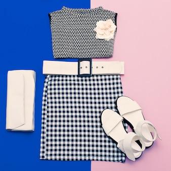 Vanille dames set. modieuze kleding en accessoires