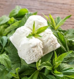 Vanille-ijs in mint