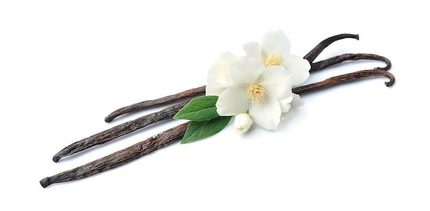 Vanillestokjes met bloemen op witte achtergrond