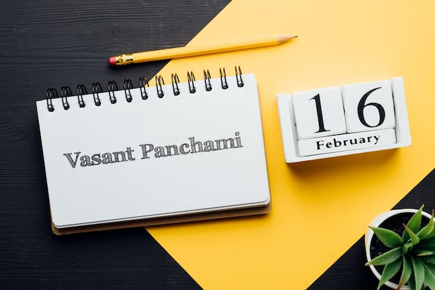 Vasant panchami idian vakantiedag van winter maandkalender februari.