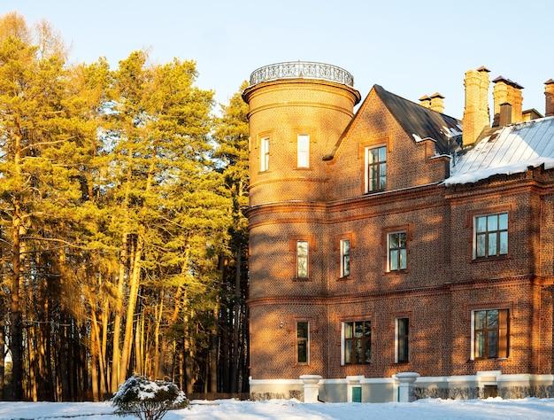 Vasilievsky engels kasteel sherbatov landhuis landgoed hoofdgebouw. detailopname. selectieve aandacht. kopieer ruimte