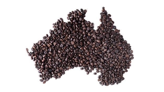 Vasteland australië gemaakt van koffiebonen geïsoleerd.