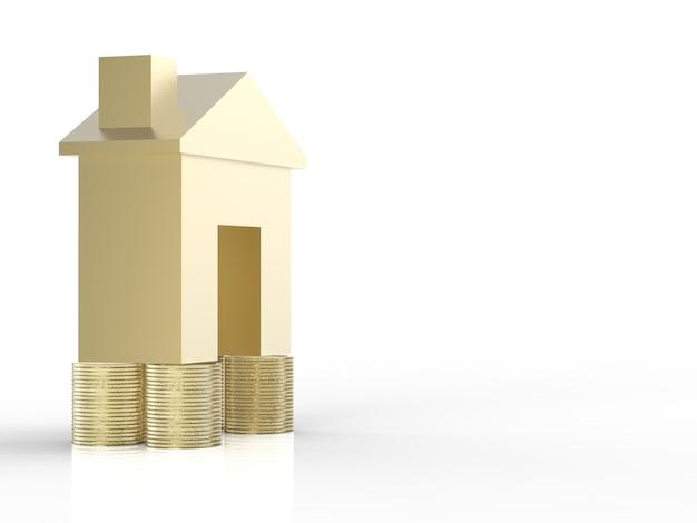Vastgoedinvesteringsconcept met gouden mock-up huis en stapel gouden munten