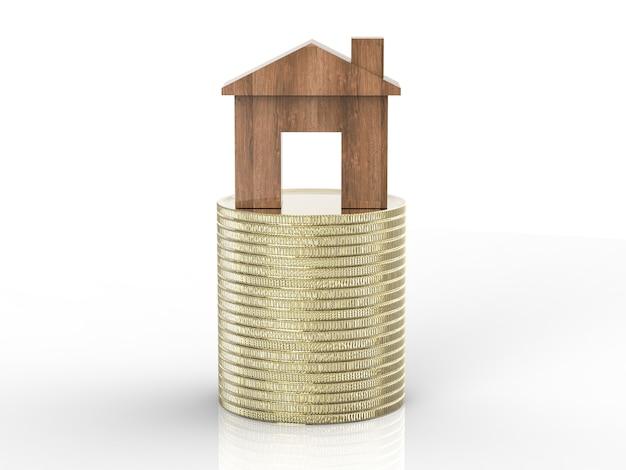 Vastgoedinvesteringsconcept met houten mock-up huis op stapel gouden munten