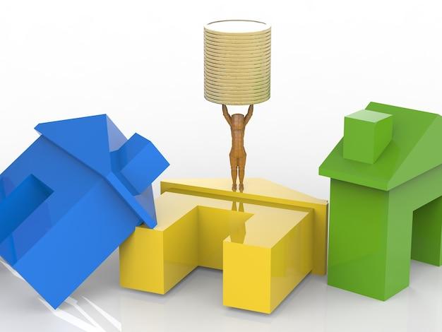 Vastgoedinvesteringsconcept met kleurrijk mock-up huis en gouden munten
