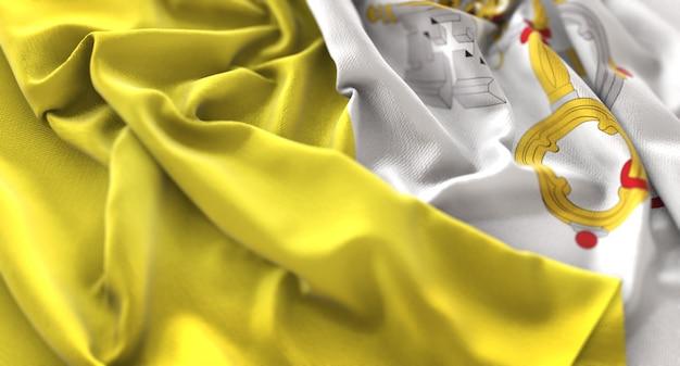 Vaticaanvlag ruffled mooi wapperende macro close-up shot